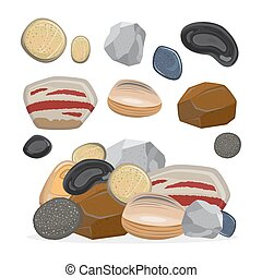 Stones and rocks. Cartoon stone set vector illustration