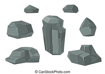 Stones and rocks cartoon vector boulders set