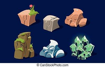 Stones and rocks set, user interface assets for mobile apps or video games details vector Illustration