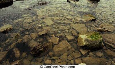 Stones ashore in the sea water