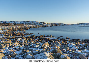 Stones at beach in winter