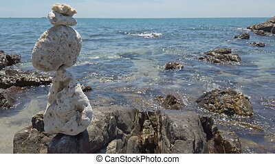 Stones balance at sea background - Zen stones balance at...