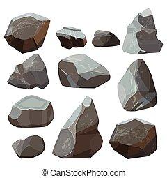 Stones cartoon. Rock mountains flagstone rocky vector...