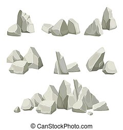 stones collection. different rocks elements from mountains. vector flat nature stones creation kit