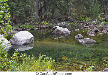 Stones in a stream.