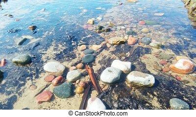 Stones in calm shallow water on sea beach Closeup