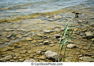 Stones in clear water. Many small stones