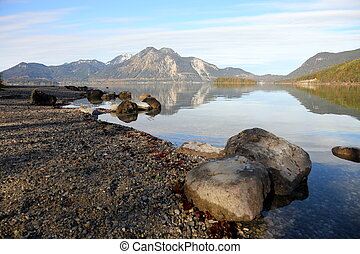 stones in front of a lake