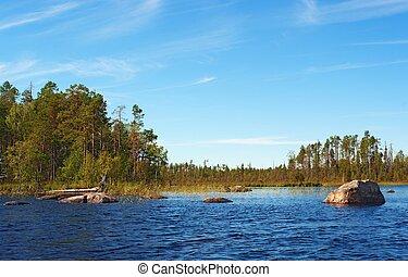 stones in lake water