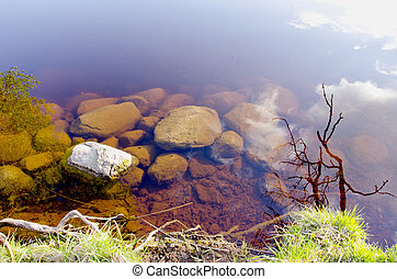 stones in the spring lake water