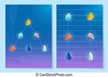 Stones Making Shapes Set, Vector Illustration