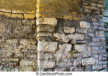 Stones, masonry on the wall