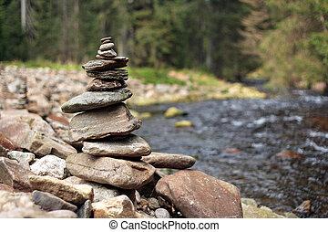 stones, násep, hranice, řeka, tvrdý