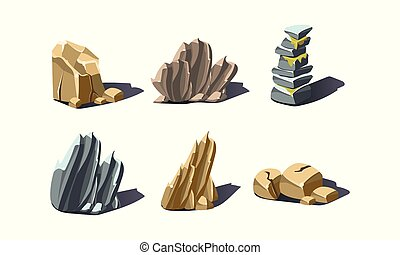 Stones of various shapes set, rocks and boulders vector Illustration on a white background