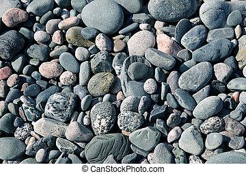 Stones on a beach in Newfoundland, canada