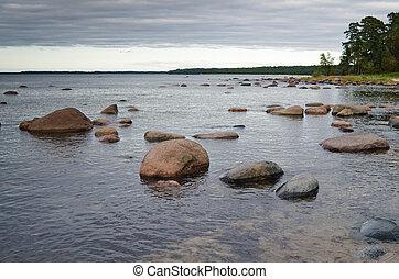 Stones on coast of Baltic sea