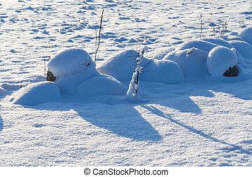 Stones on snow meadow