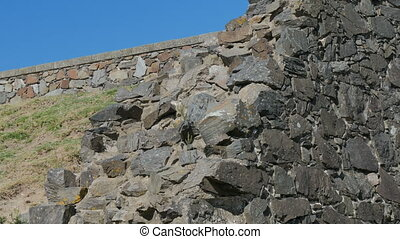 Stones on the ancient wall of the historic centre of Colonia del Sacramento