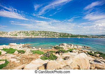 Stones on Zia Culumba Beach. Capo Testa, Sardinia Island, ...