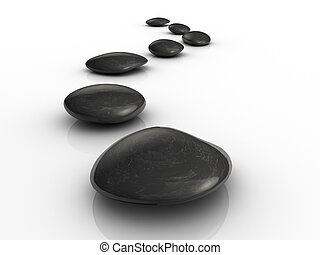 Stones path - Black stones arranged on white surface - 3d...