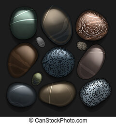 Stones pebble collection isolated on black, vector Eps10...
