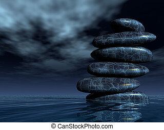 Stones pile in water