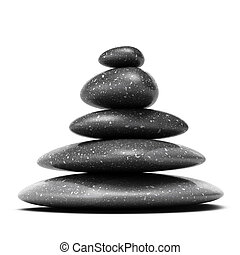 stones pyramid with five black pebbles over white background