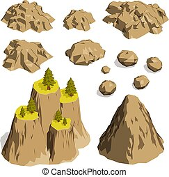 Stones rocks and mountains - set of isometric vector illustrations.