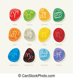 Colorful stones set with the twelve zodiac signs and symbols
