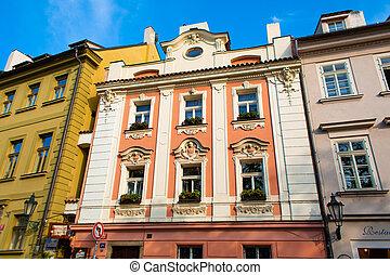 stones., sokszínű, alacsony, kövezet, város, strago, öreg, európa, megkövez, utcák, építészet, épületek, prague.