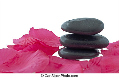Stones - Some black stone for massage with petals of rose