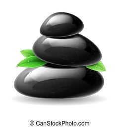 Black stones spa with green leaves. Illustration on white