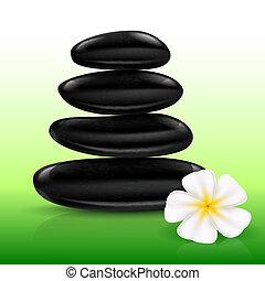 Stones spa with white Flower. Illustration for design