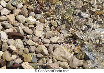 Stones under the surface of water