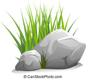 Stones with grass