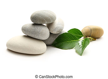 Stones with leaves on white background