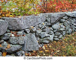 Stonewall in Fall. - Stonewall and trees in Fall.