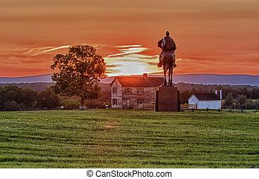 Stonewall Jackson at Manassas Battlefield - Sunset view of...