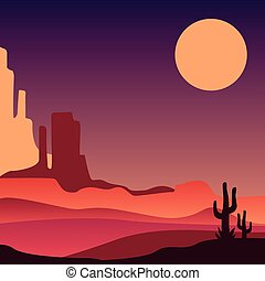 Stony Arizona desert with silhouettes of cacti. Natural...
