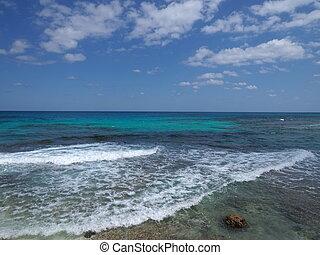 Stony beach on Isla Mujeres near Cancun city in Mexico