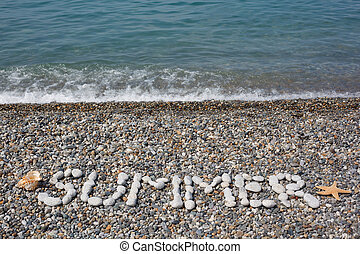 """Stony beach with water strip. From stones word is combined """"..."""