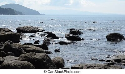 Stony coast - Coast there lot of stone surging wave of small