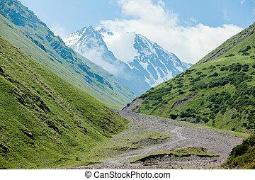 Stony road and white mountain peak