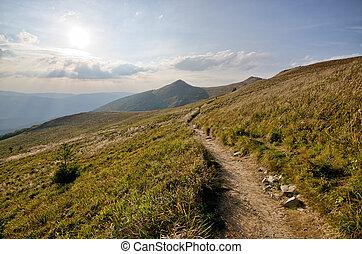 Stony road in mountains - Stony road in Bieszczady mountains