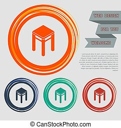 Stool icons on the red, blue, green, orange buttons for your website and design with space text. Vector