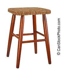 Old stool isolated on white background