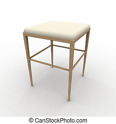 Stool - 3D Illustration. Isolated on white.