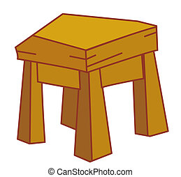 Stool - illustration drawing of a stool isolate in a white...