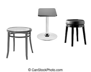 stools on a white background