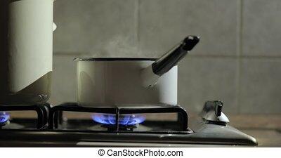 stoom, pot, het koken